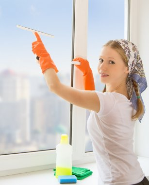 Young housewife washing the window