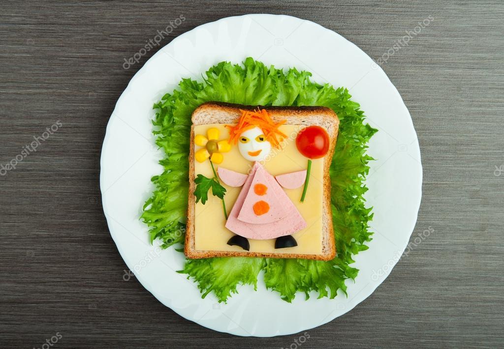 diseño de alimentos. sandwich creativa para niños con foto ma ...