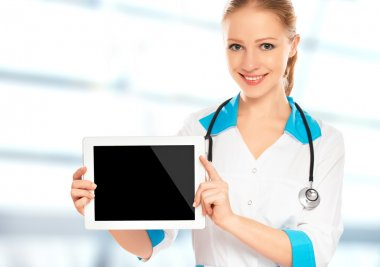 Doctor woman holding a blank empty white tablet computer stock vector