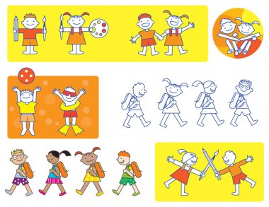 Small kids school icons