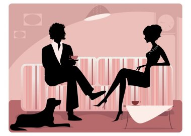 Silhouette of a couple having coffee and talking clip art vector