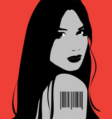Girl with bar code
