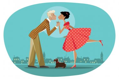 Vector illustration of a retro style couple walking a dog and kissing, background can be easily removed clip art vector