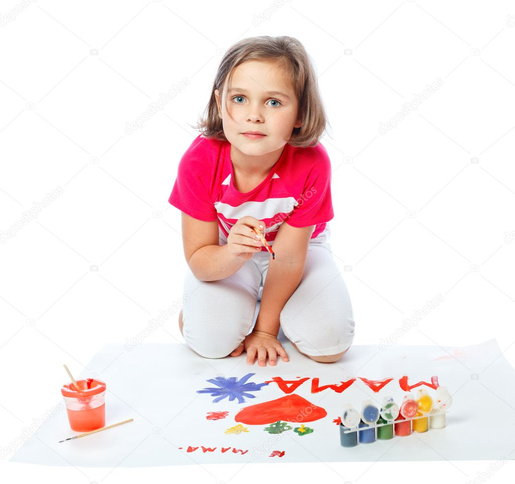 little girl draws heart, paint, Valentine's Day, March 8