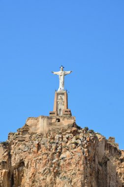 Sculpture of Jesus on the Islamic castle of Monteagudo
