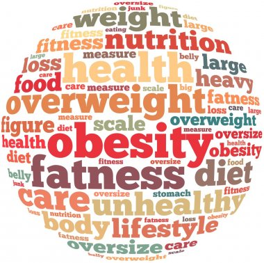 Obesity info-text graphics and arrangement concept on white background (word cloud)