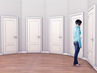 Girl before a doors