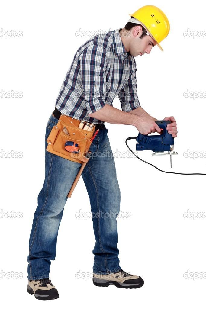 Handwerker arbeiten mit einer elektrischen Fräser — Stockfoto ...