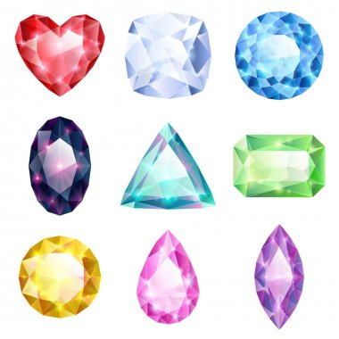Set of realistic glowing colorful jewels