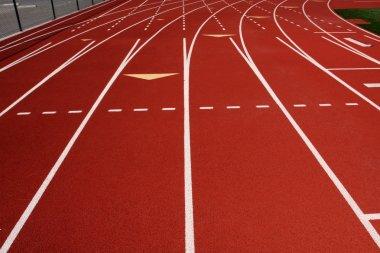 Red Running Track Lanes