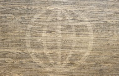 Global icon on wood texture and background