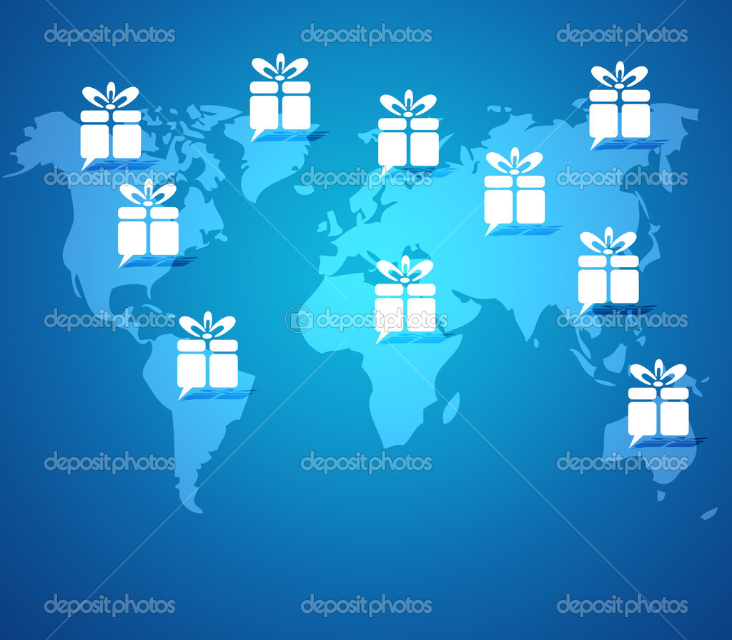 Gift box button on world map background stock photo jumpe 24688273 gift box button on world map background stock photo gumiabroncs Gallery