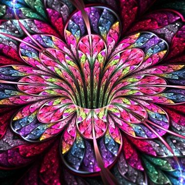 Colorful and bright flower, modern fractal art design