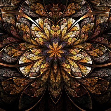 Symmetrical flower, warm and bright fractal art design