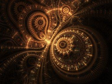 Abstract design of steampunk watch, digital fractal artwork