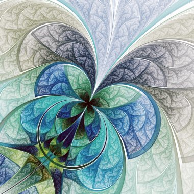 Colorful abstract flower or butterfly, digital fractal art