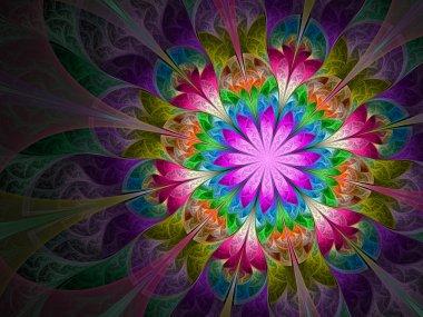 Colorful and psychedelic flower, digital fractal art design