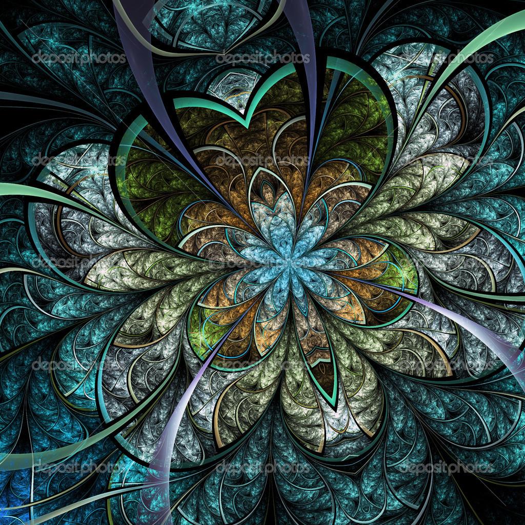 Fractal Black Flower Free Stock Photo