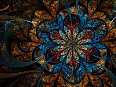 Dark gold fractal flower, digital artwork for creative graphic design