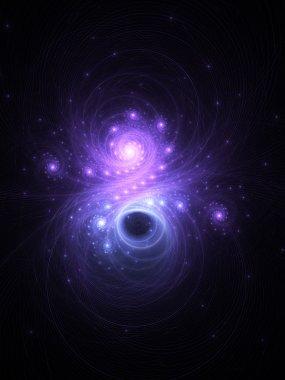 Dark shiny fractal nebula, digital artwork for creative graphic design