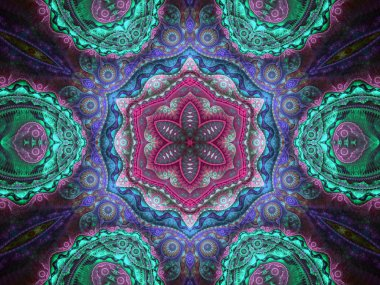 Colorful floral mandala, digital fractal artwork for creative graphic design