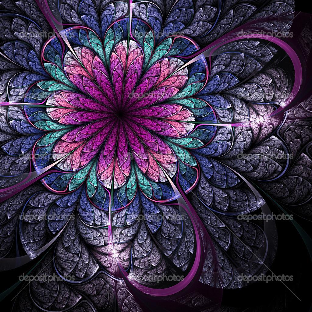 Fleur Fonce Fractal Illustrations Numeriques Pour La Conception