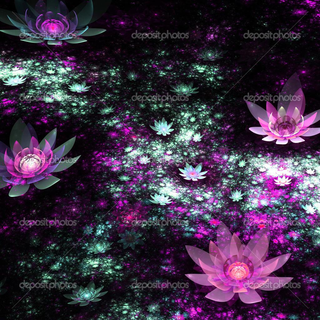 Fleurs Colorees Fractale En Oeuvre Sombre Et Numerique Pour La