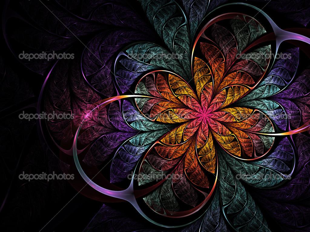 Fleur Fractal Fonce Colore Illustrations Numeriques Pour La