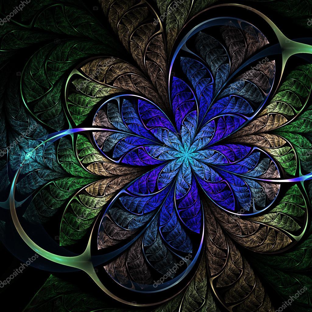 Fleur Fractal Bleu Fonce Des Illustrations Numeriques Pour La