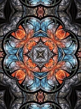 Colorful fractal kaleidoscope, digital artwork for creative graphic design