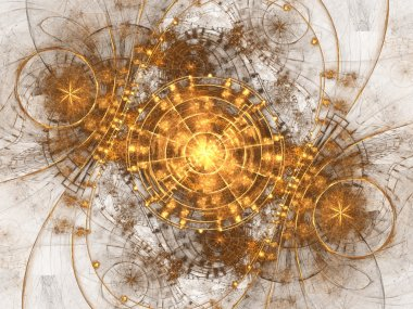 Gold fractal time machine, digital artwork for creative graphic design