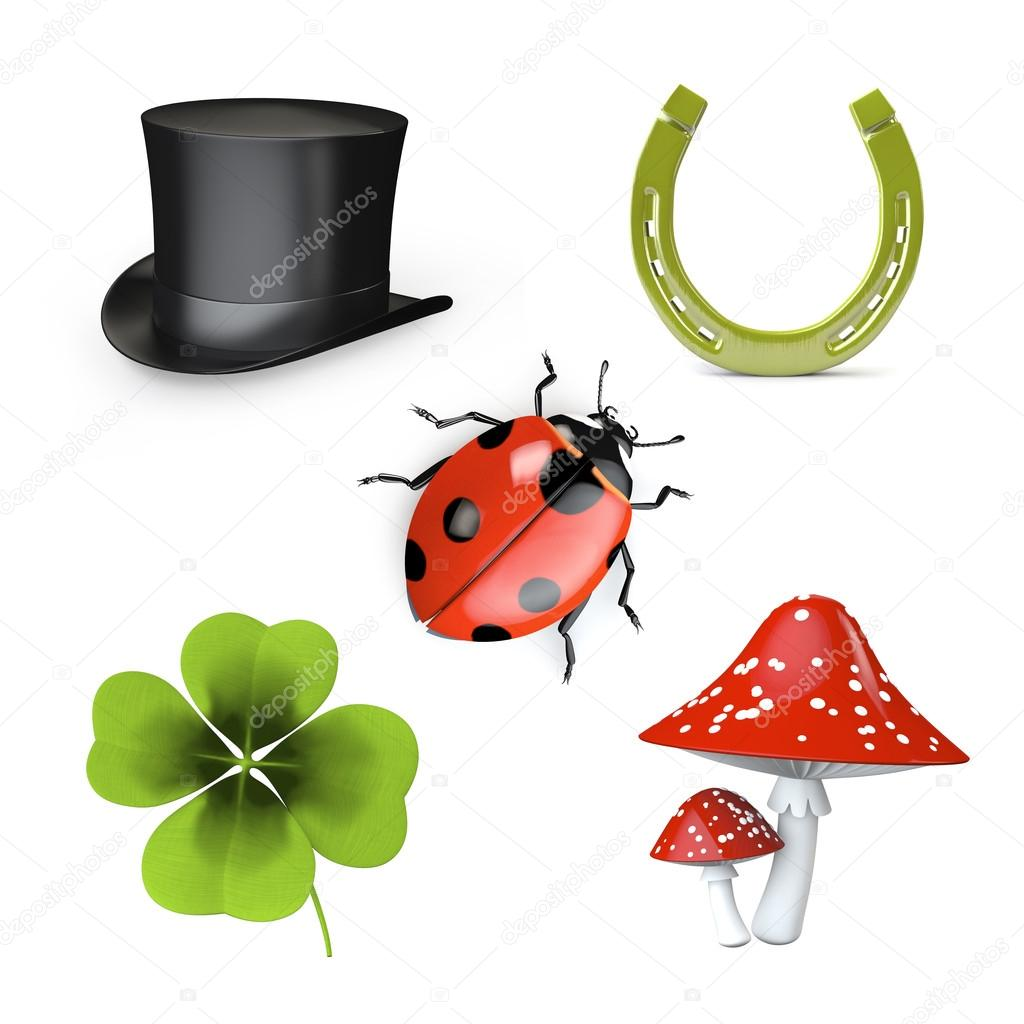 3d collection of good luck symbols stock photo alexraths 16813331 3d collection of good luck symbols isolated on white photo by alexraths buycottarizona