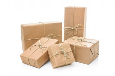Parcels wrapped with brown paper