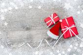 Dárkové krabice a Santa klobouk