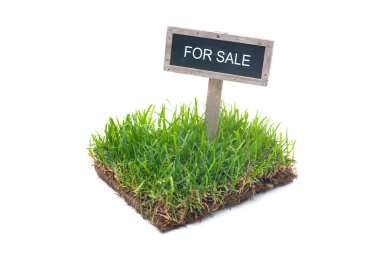 For sale sign in green grass Isolated on white background stock vector