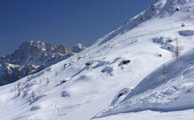 snowy slope and Civetta peak, San Pellegrino pass