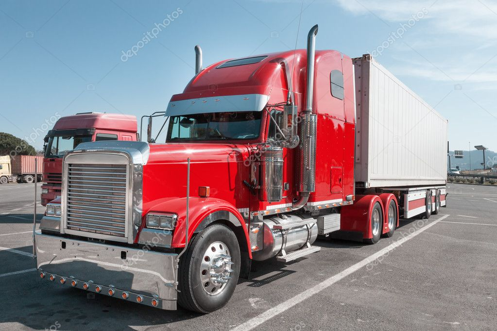 red US Truck with chrome parts