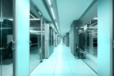 Data center corridor, technology concept