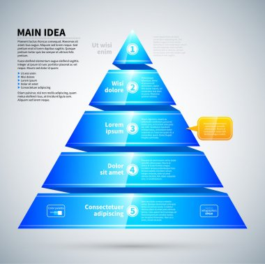 Blue glossy pyramid chart