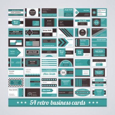 Set of different business cards in retro style.