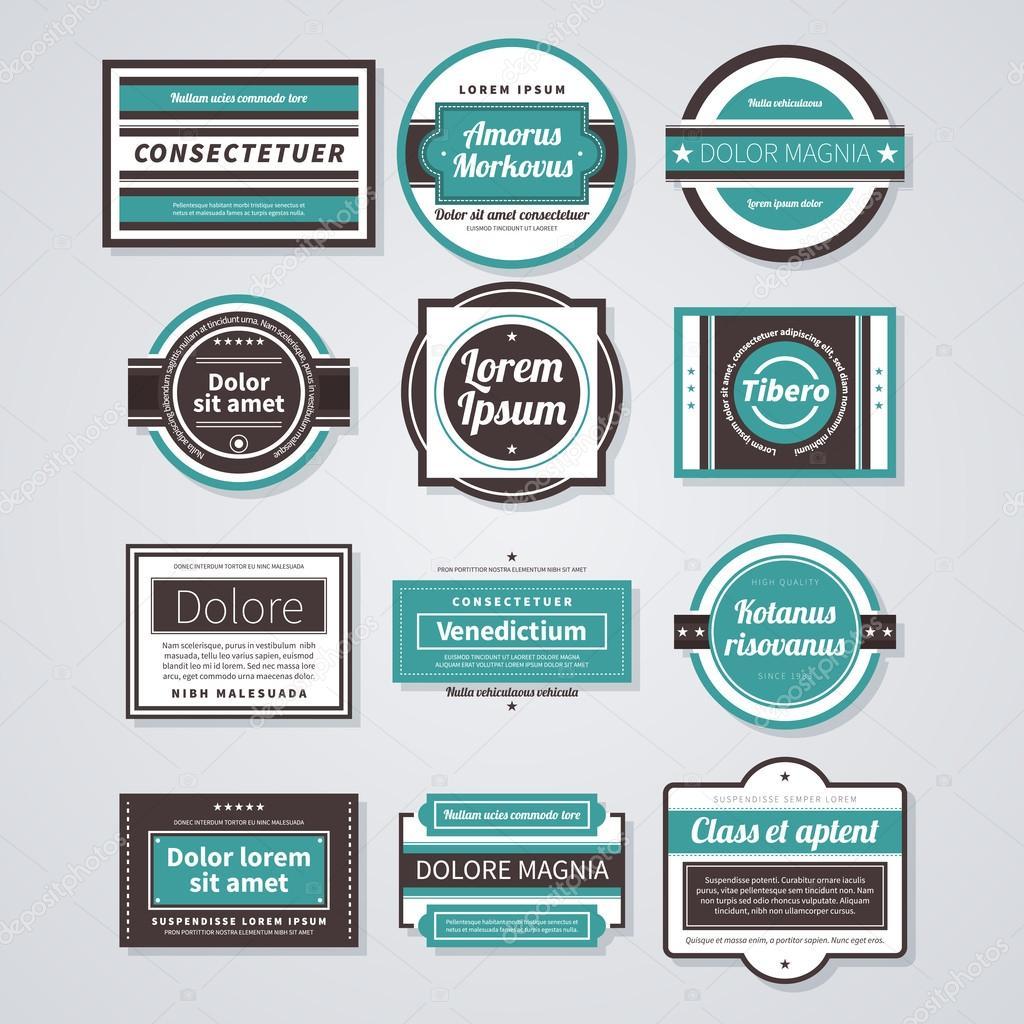 Reihe Von Verschiedenen Visitenkarten Im Retro Stil