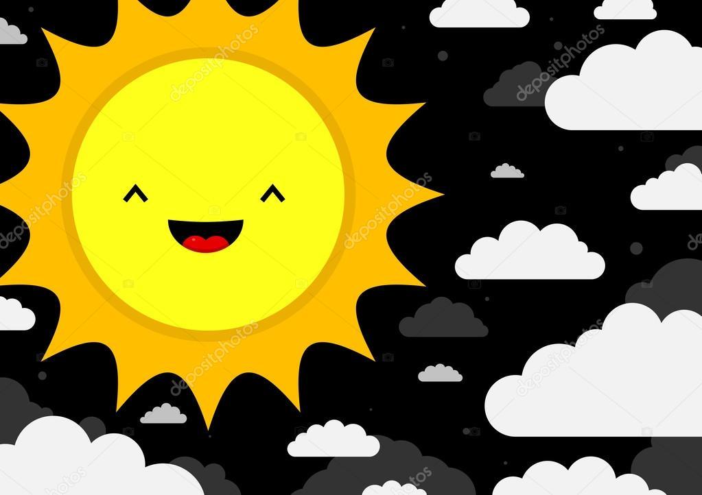 Smiling cartoon sun.