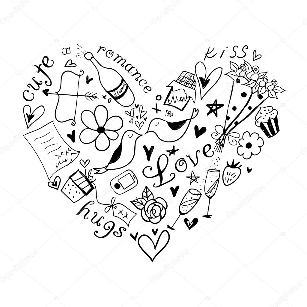 Line Drawing Valentine : Hand drawn doodle heart shaped valentine — stock vector