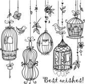 Fényképek Doodle kalitka madarak