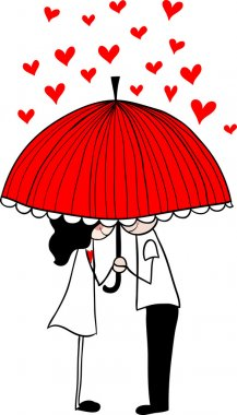 Doodle lovers: a boy and a girl under umbrella. clip art vector