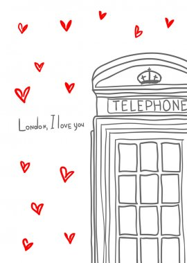 London, I love you. Hand drawn pay phone among hearts.
