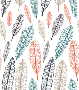 Doodle textured feathers seamless pattern