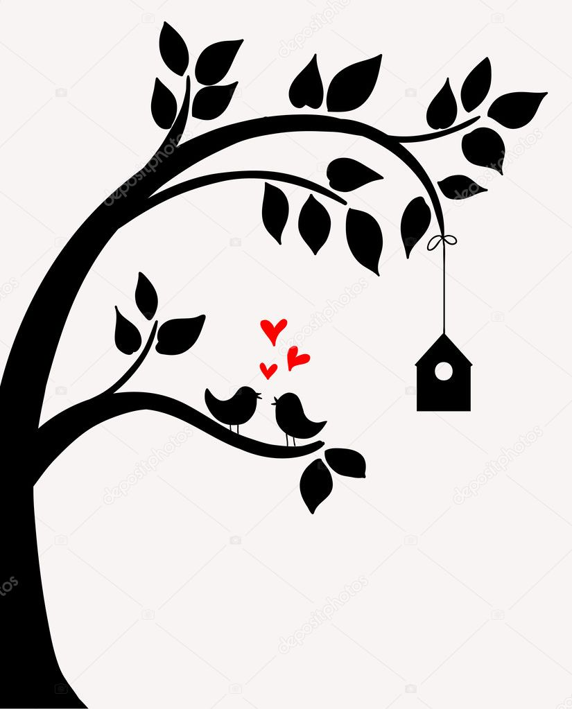 Doodle tree with birds in love and nesting box. — Stock ...
