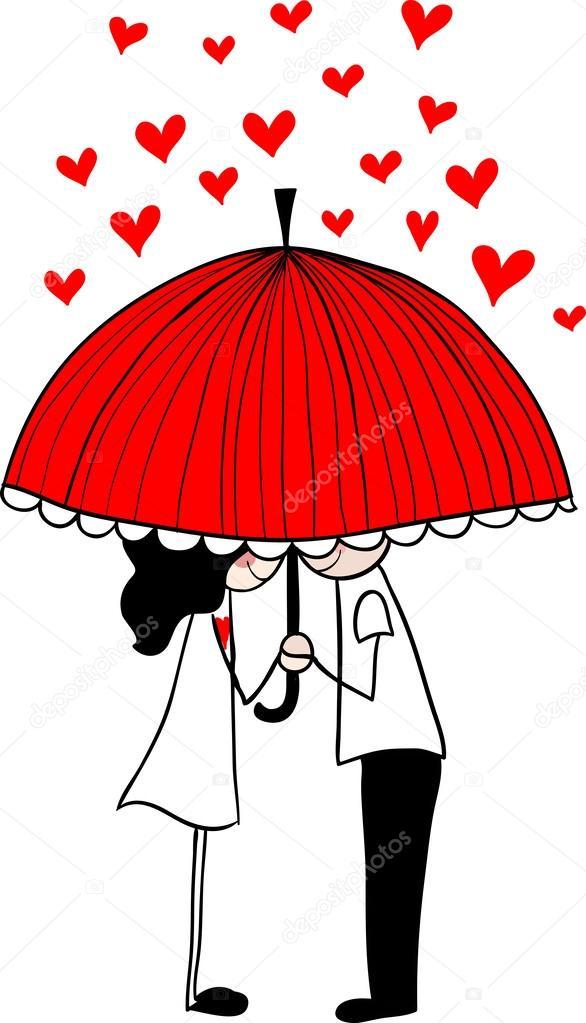 Doodle lovers: a boy and a girl under umbrella. clipart vector