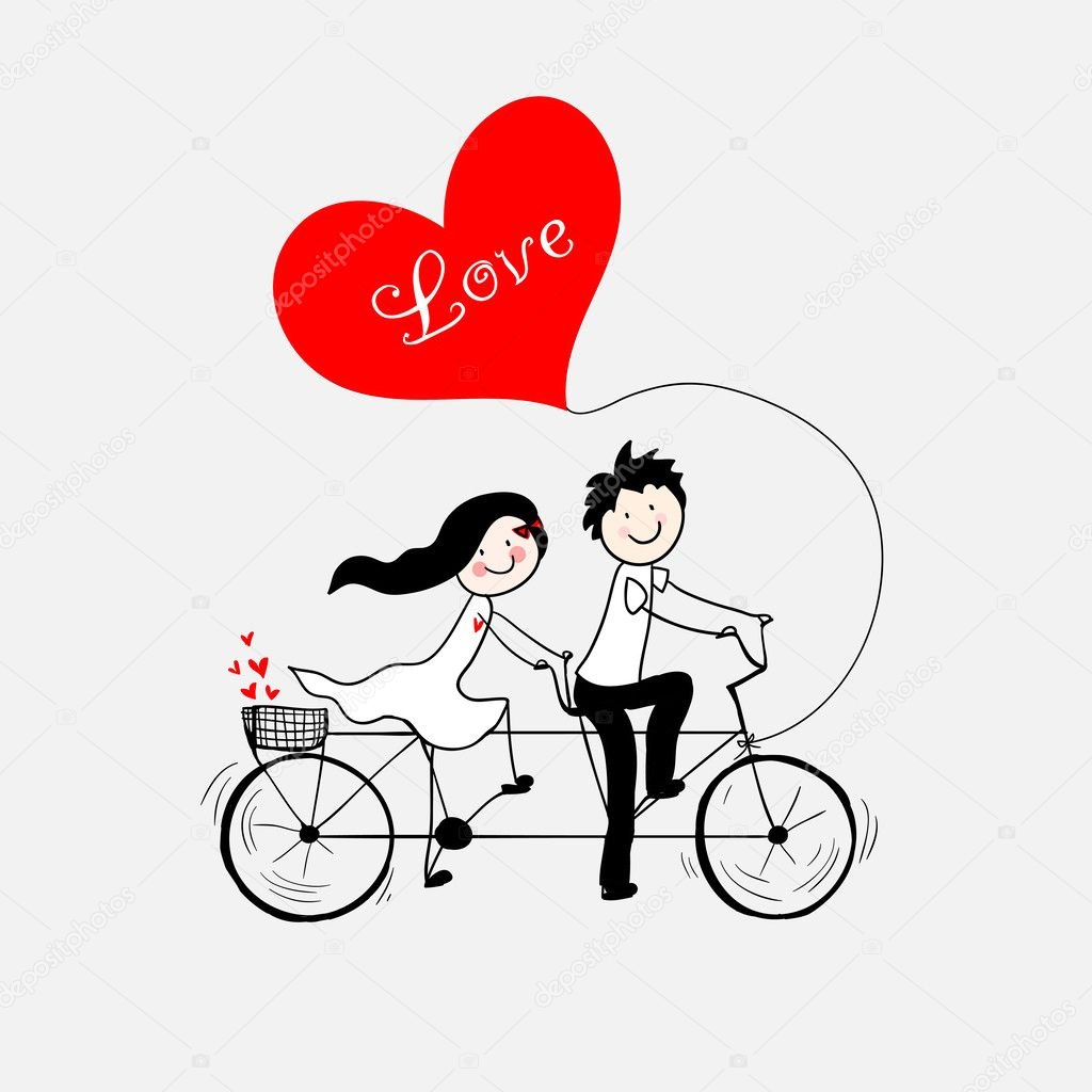 Doodle lovers: a boy and a girl riding tandem bicycle. clipart vector